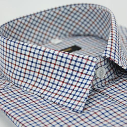 【金安德森】白底紅黑藍相間方格窄版長袖襯衫