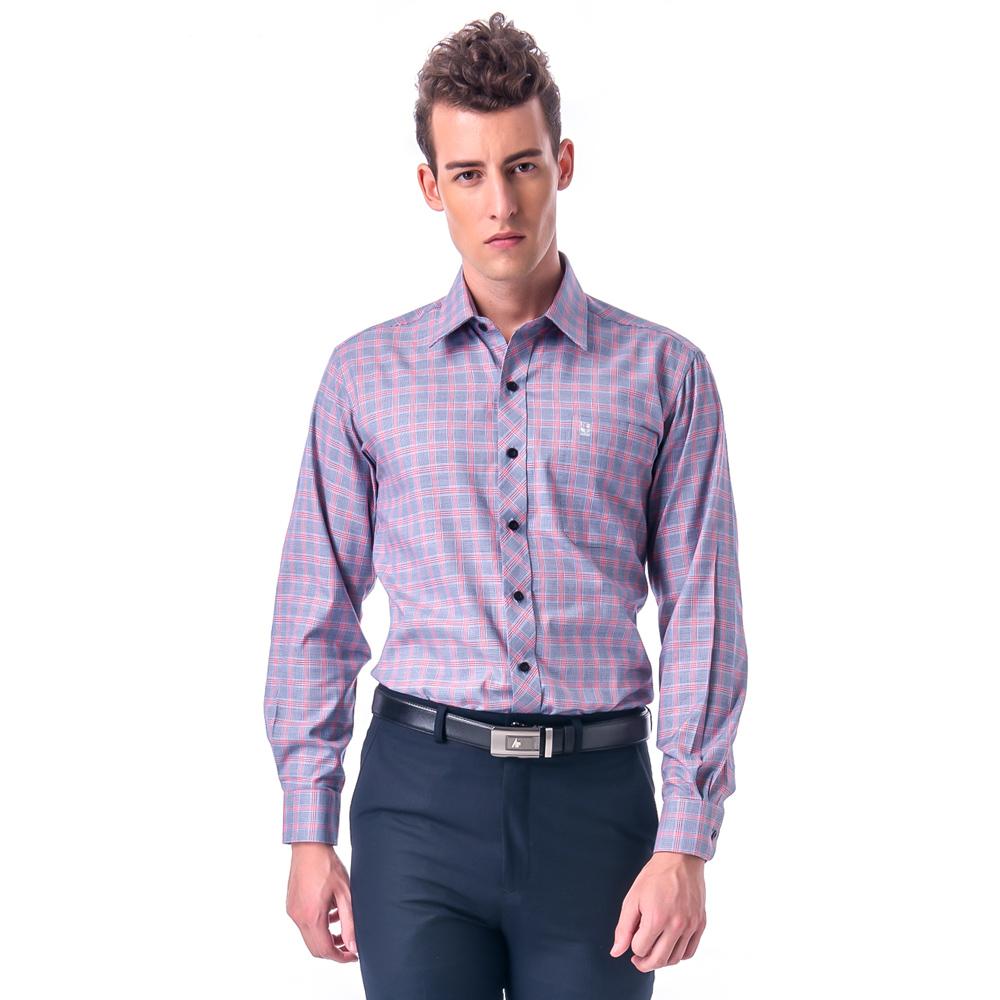 【金安德森】紅灰相間方格窄版長袖襯衫