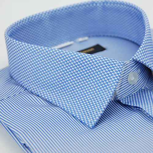 【金安德森】藍色變化領方格窄版長袖襯衫