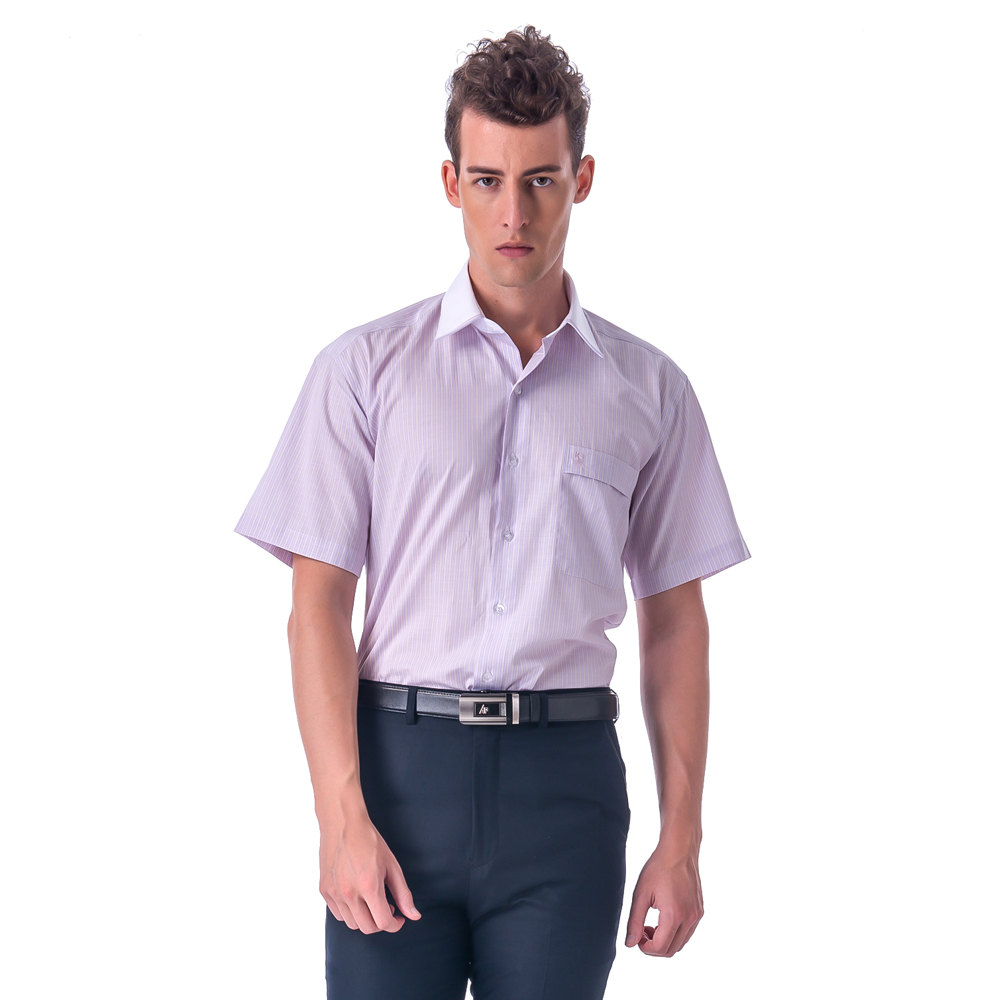 【金安德森】紫黃條紋白領短袖襯衫