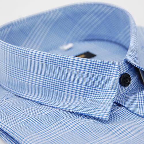 【金安德森】藍色寬格窄版長袖襯衫