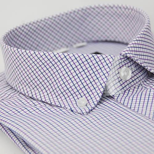 【金安德森】紫藍格紋釘釦窄版長袖襯衫