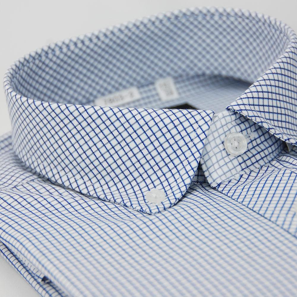 【金安德森】藍色格紋釘釦窄版長袖襯衫