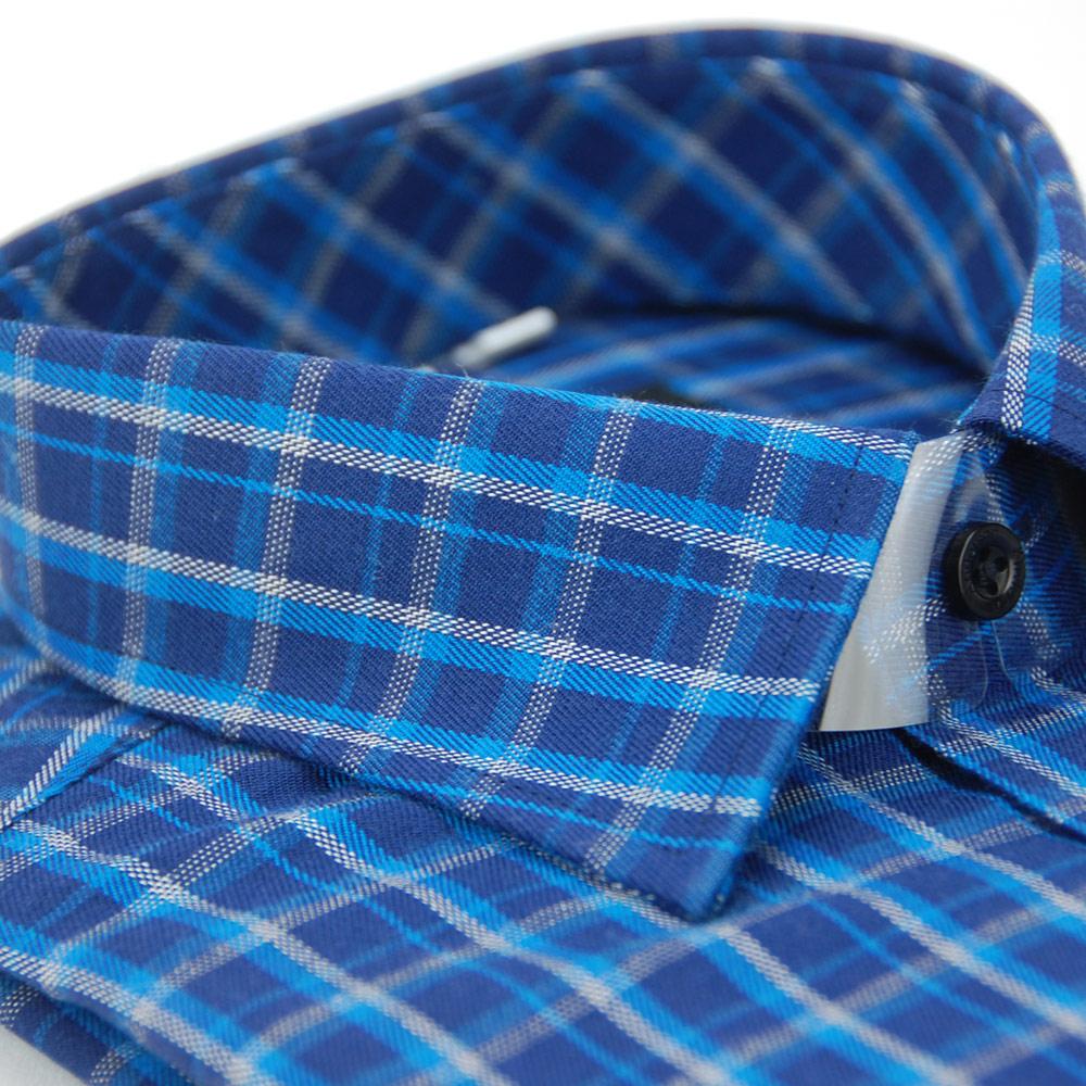 【金安德森】深淺藍白格紋保暖窄版長袖襯衫