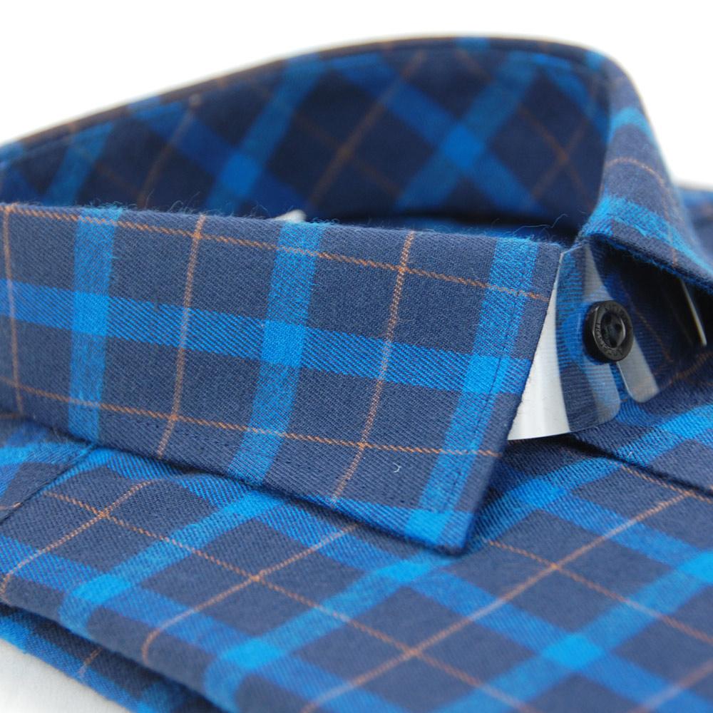 【金安德森】深淺藍黃大格紋保暖窄版長袖襯衫