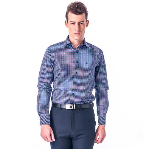【金安德森】紅藍格紋窄版長袖襯衫