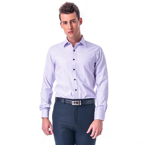 【金安德森】小圓紫點黑扣窄版長袖襯衫