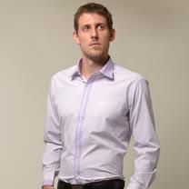 【金安德森】粉紫色變化領窄版長袖襯衫