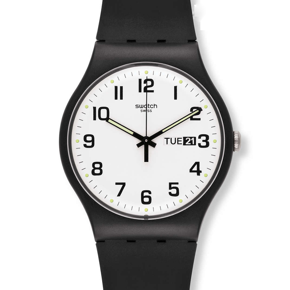 SWATCH  與你再次相遇 黑白簡約腕錶  SUOB705