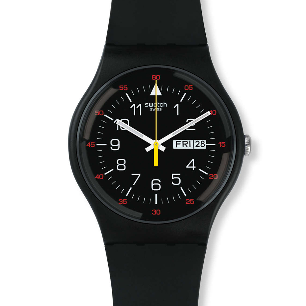 SWATCH  奔馳橫濱 賽車風格黑面夜光腕錶  SUOB724