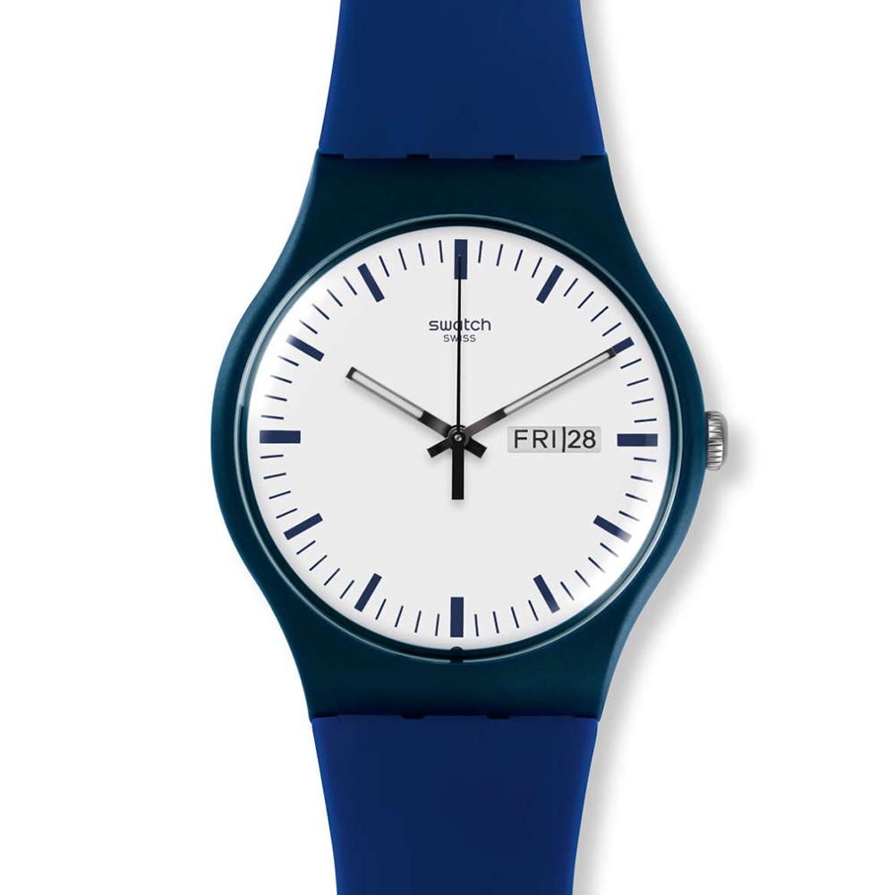 SWATCH  貝拉布魯 玩色湛藍腕錶 SUOB724