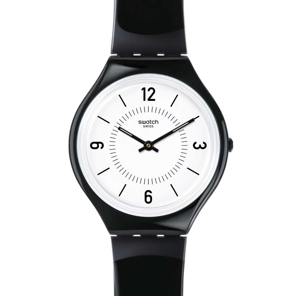 SWATCH  輕薄俐落  簡約黑白極薄腕錶  SVOB101