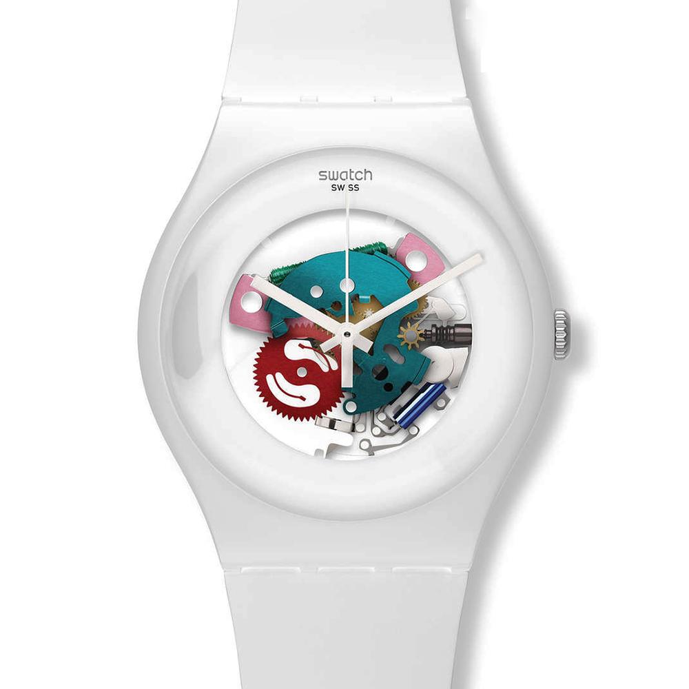 SWATCH  點綴純白 彩漾簍空腕錶  SUOW100