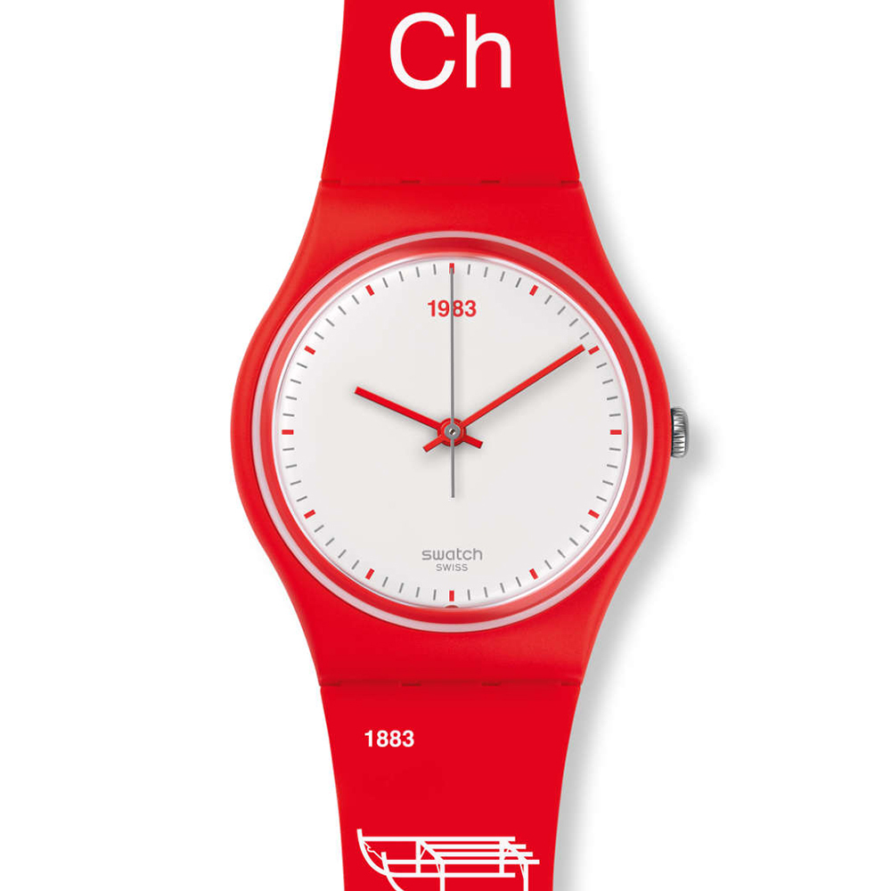 SWATCH  瑞士元素紅白輕盈腕錶 GR168