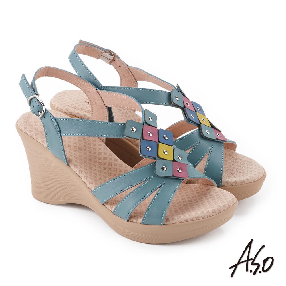 A.S.O 挺麗氣墊 俏麗撞色拼接全真皮抗菌奈米鞋墊楔型涼鞋(綠色)