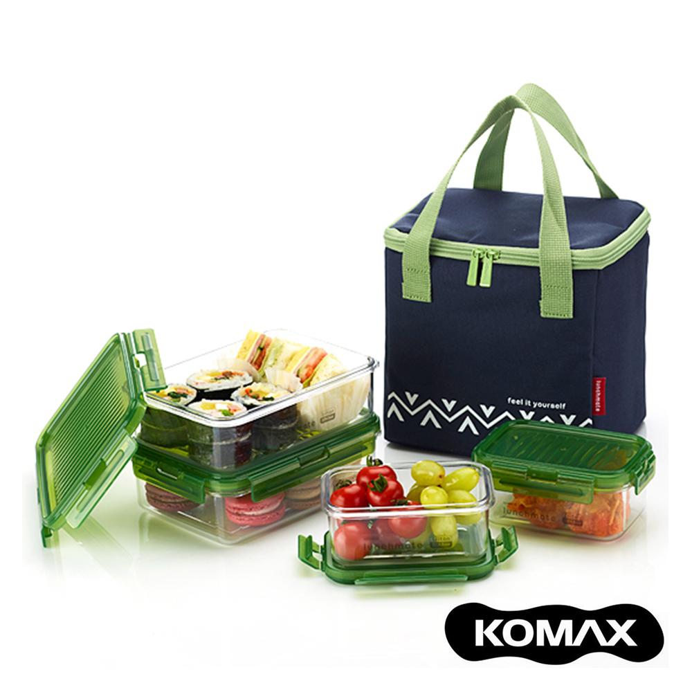 【索樂生活】韓國KOMAX戶外野餐保鮮盒四件組(附提袋)-藍.露營水果盒點心盒便當盒保溫袋保冷袋密封罐樂扣蓋便當飯盒推薦
