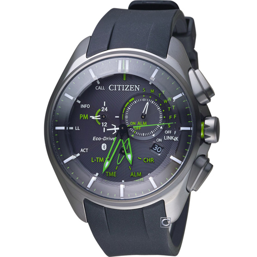 CITIZEN 星辰 藍芽光動能時尚限量鈦金屬腕錶 BZ1045-05E 綠