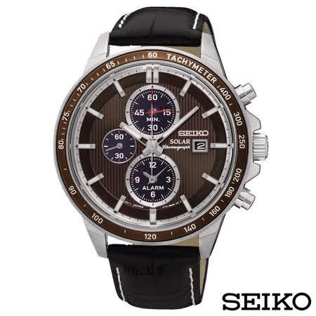 SEIKO精工  率性風潮視距儀三眼太陽能石英腕錶 SSC503P1