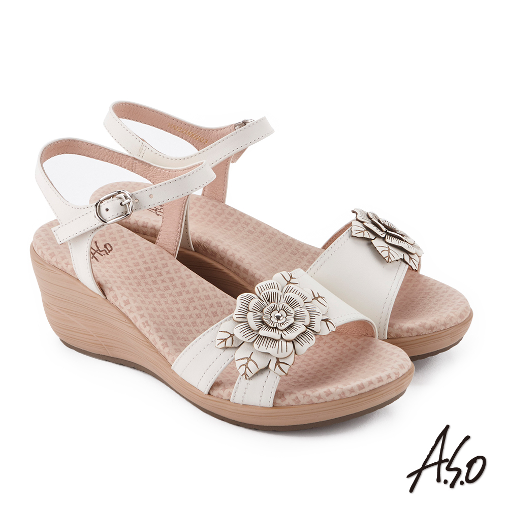 A.S.O 挺麗氣墊 立體花卉全真皮抗菌奈米鞋墊楔型涼鞋(白色)