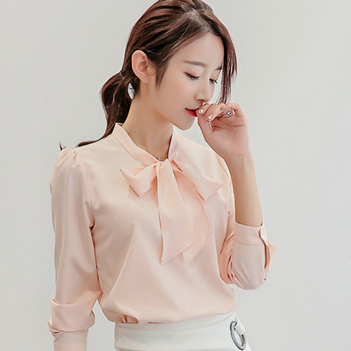 【Stoney.ax】韓版修身蝴蝶結長袖雪紡襯衫-粉色