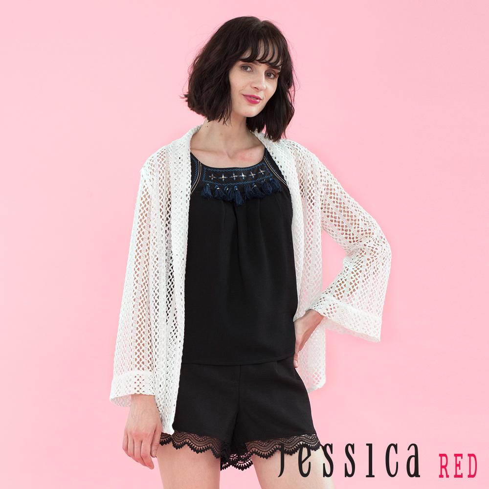 JESSICA RED - 細緻簍空設計罩衫外套(白)