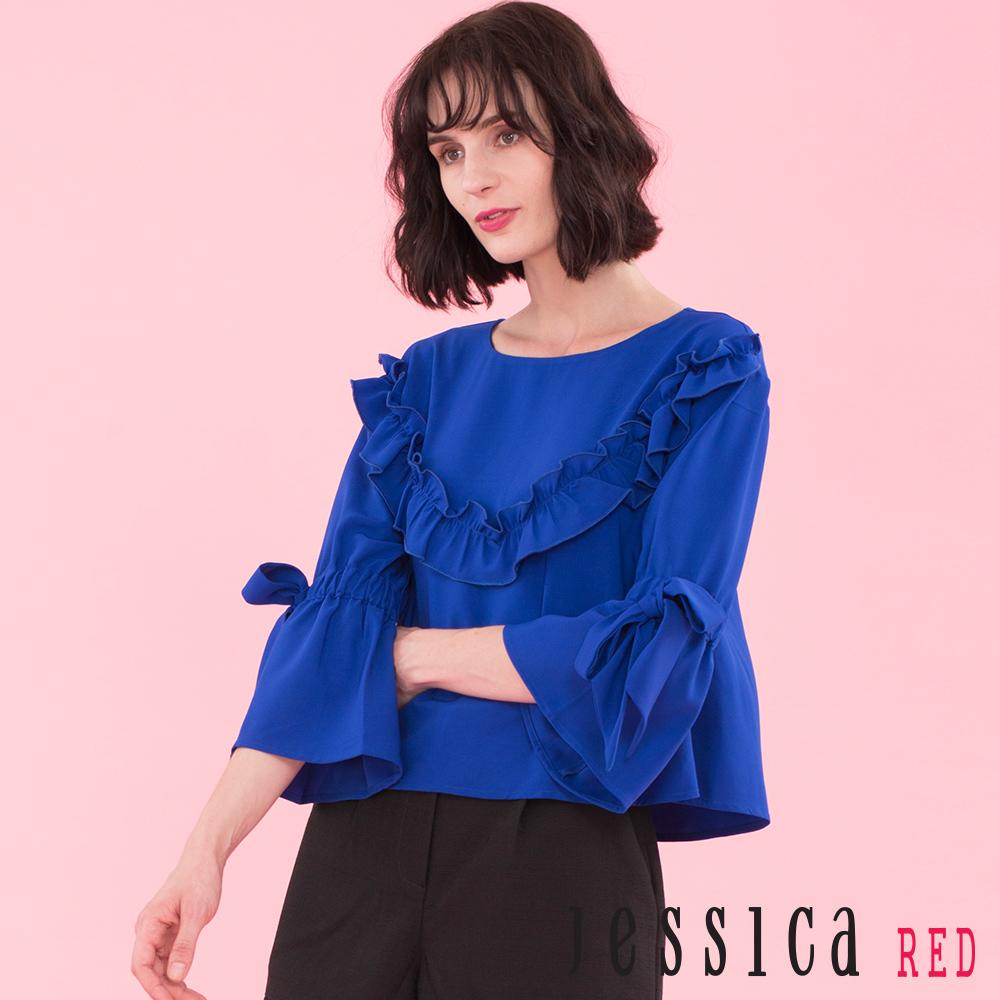 JESSICA RED - 綁帶荷葉袖設計上衣(藍)