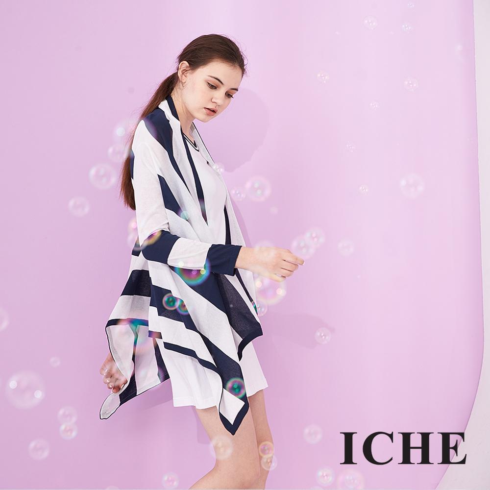 ICHE 衣哲 時尚條紋印花不規則傘擺設計針織長版造型外套-藍