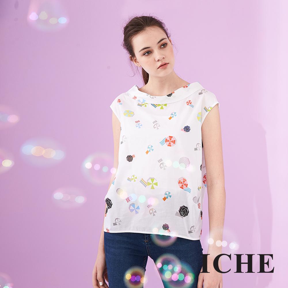 ICHE 衣哲 3D立體船型翻領滿版印花無袖100%高磅棉造型上衣-白
