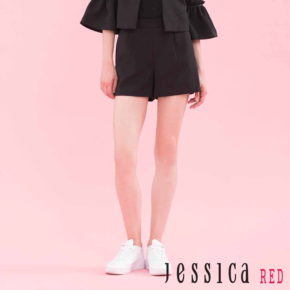 JESSICA RED - 青春揮灑百搭素面短褲(黑)