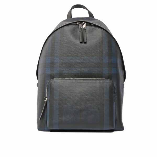 【BURBERRY】London皮製飾邊格紋後背包(藍黑)
