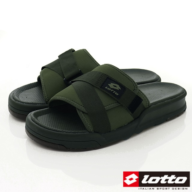 Lotto義大利運動鞋-潮流魔鬼氈可調整拖鞋款-MS6775綠-24-28cm