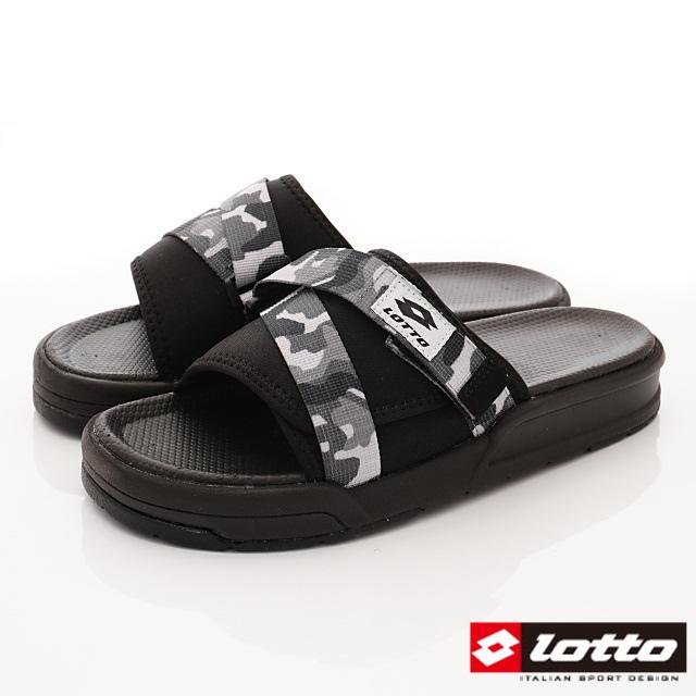 Lotto義大利運動鞋-潮流魔鬼氈可調整拖鞋款-MS6778迷彩灰-24-28cm