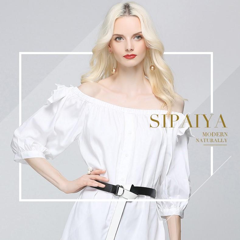 Olivia奧莉精品 一字領襯衫式腰帶洋裝S~XL 洋裝 寬襯衫 連身裙 短洋裝