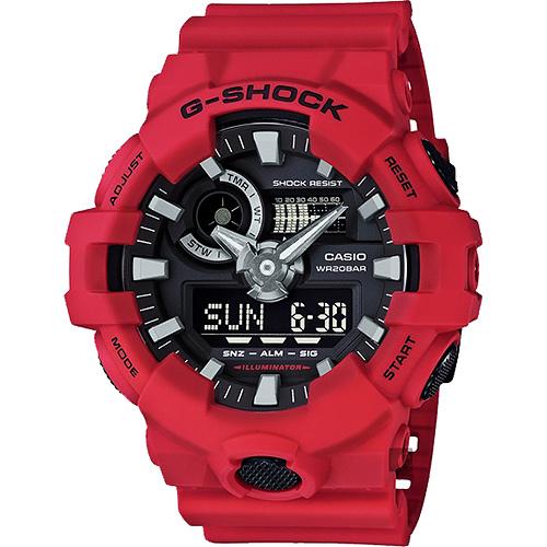 CASIO 卡西歐 G-SHOCK 金屬元素雙顯手錶-紅 GA-700-4ADR /  GA-700-4A