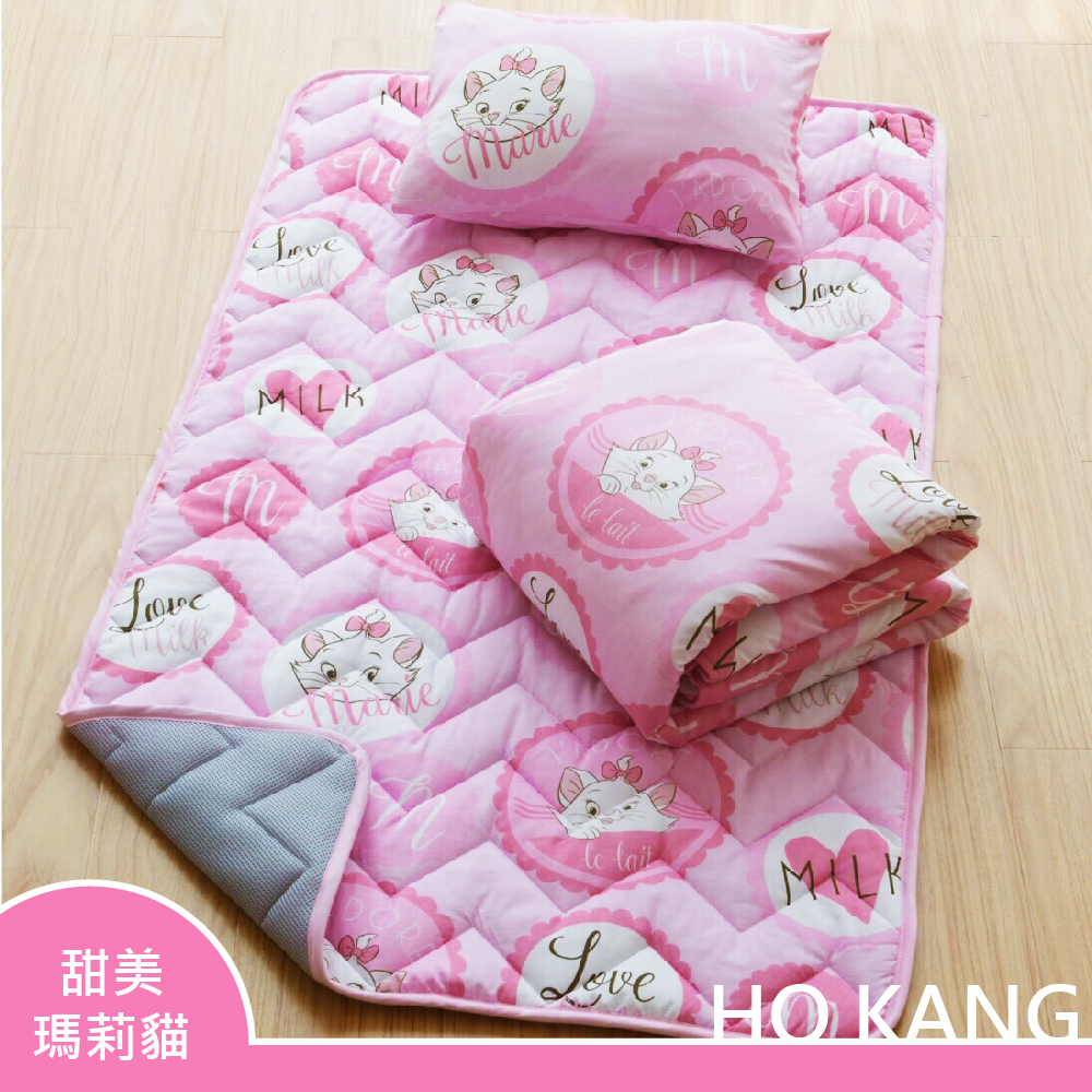 HO KANG 迪士尼正版授權 三件式睡墊 - 枕頭 / 涼被 / 睡墊 -甜美瑪莉貓