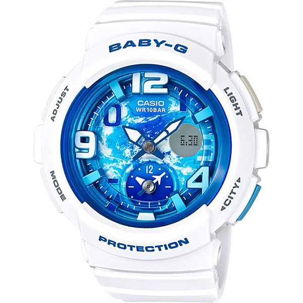 CASIO 卡西歐 Baby~G 旅行系列晴空手錶~藍x白 BGA~190GL~7B  B