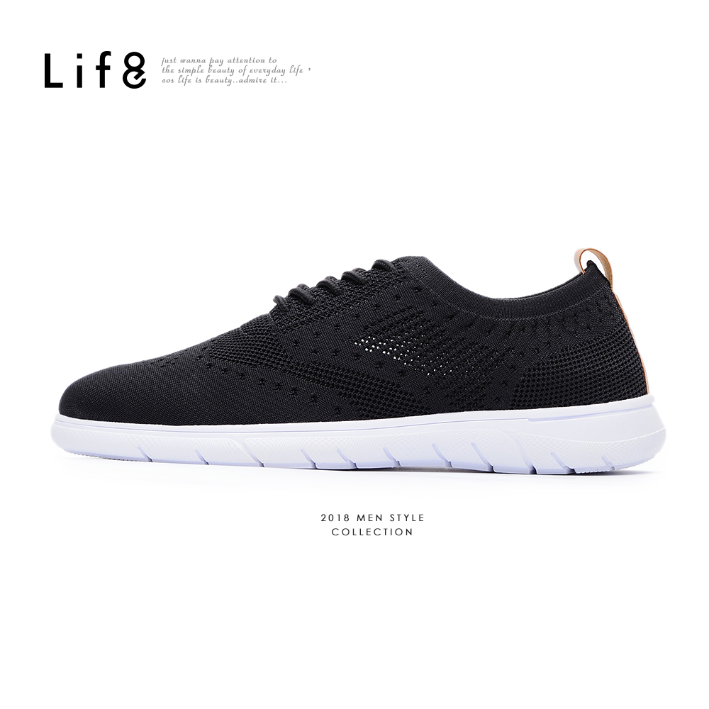 【Life8】Sport 輕量 飛織布 異材質拼接運動鞋-09880-黑色