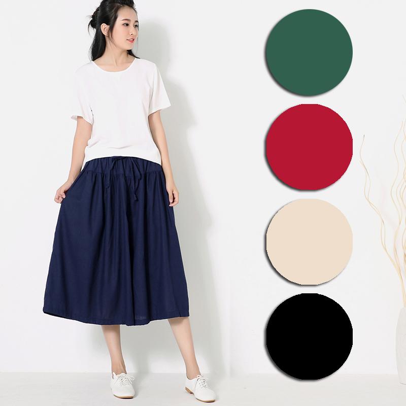 【Stoney.ax】(快速到貨) 寬鬆傘狀棉麻長裙褲(5色選)