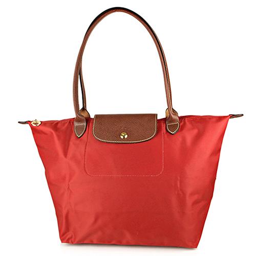 Longchamp 經典高彩度可摺疊水餃包_長把/大/磚紅色