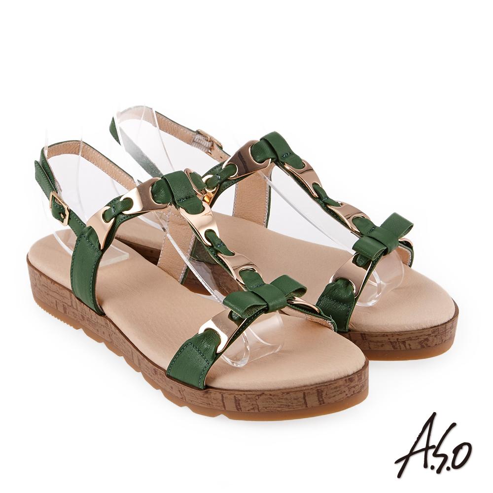 A.S.O 希臘渡假 蝴蝶結鍊飾全真皮羅馬休閒涼鞋(綠色)