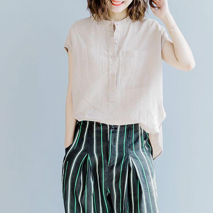 【Maya 名媛】質感走向氣質半袖式寬版棉麻上衣-2色
