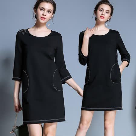【麗質達人中大碼】PM7655七分袖洋裝(M-5XL)