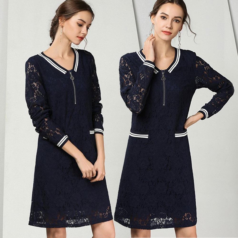 麗質達人(M-5XL)藍色假二件式洋裝79171