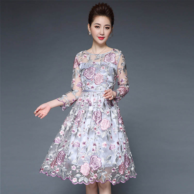 Olivia奧莉精品 華麗牡丹剌鏽身洋裝M~5XL蕾絲洋裝 連身裙 禮服 媽媽裝
