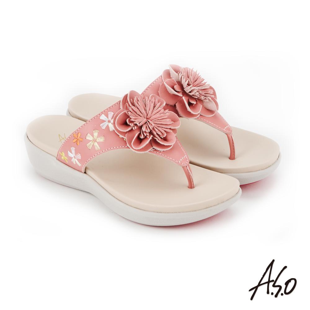 A.S.O 希臘渡假 全真皮俏麗圖騰花朵休閒涼拖鞋(粉紅)