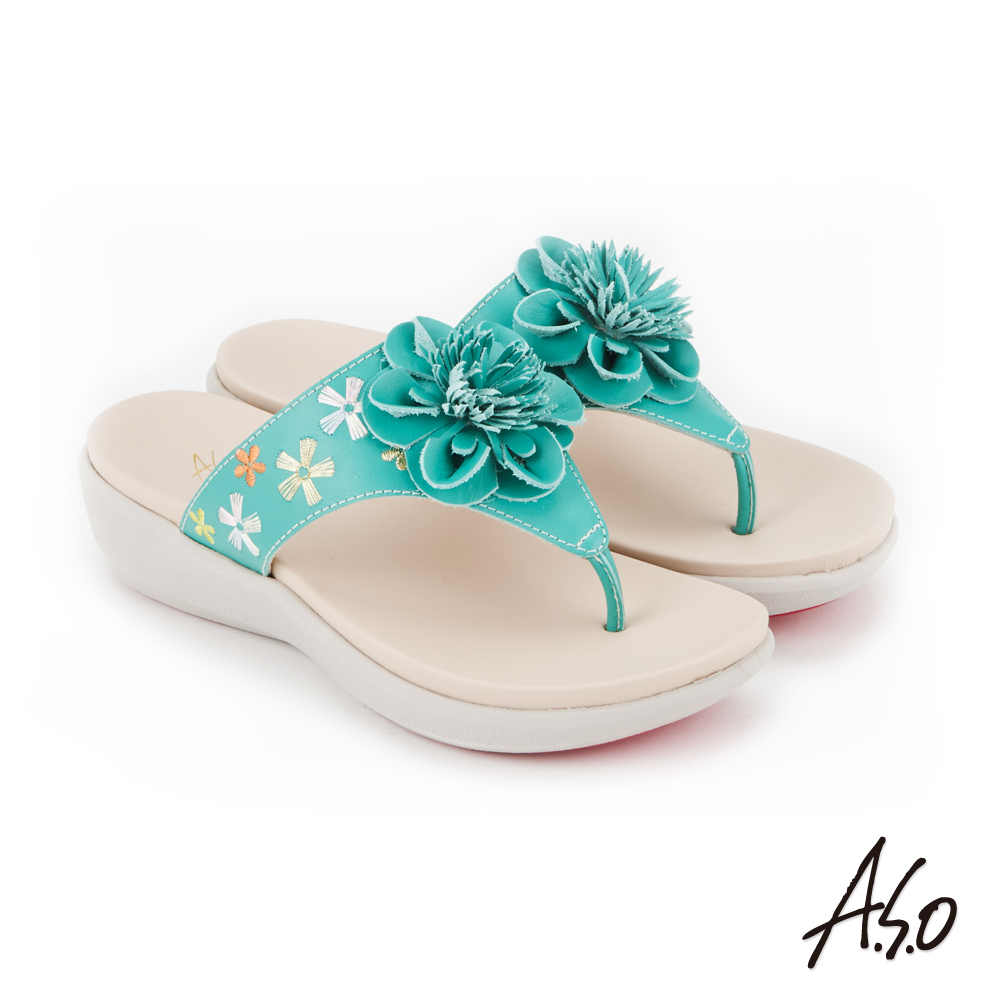 A.S.O 希臘渡假 全真皮俏麗圖騰花朵休閒涼拖鞋(綠色)