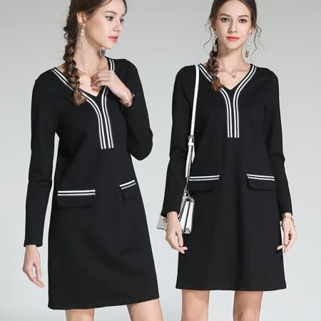 【麗質達人中大碼】3121條紋拼接洋裝(M-5XL)