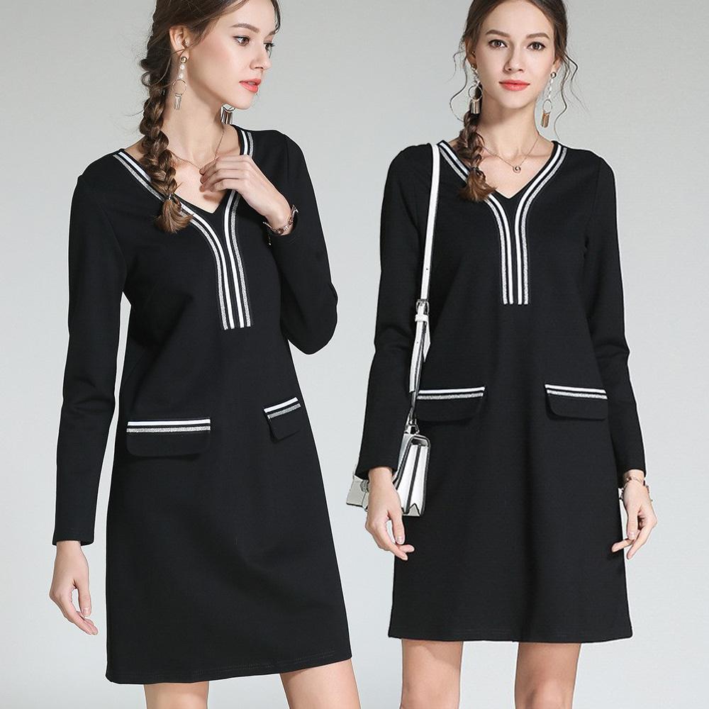 麗質達人(M-5XL)條紋拼接洋裝3121