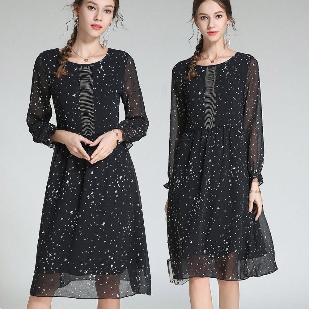【麗質達人中大碼】3107黑色雪紡印花洋裝(M-5XL)
