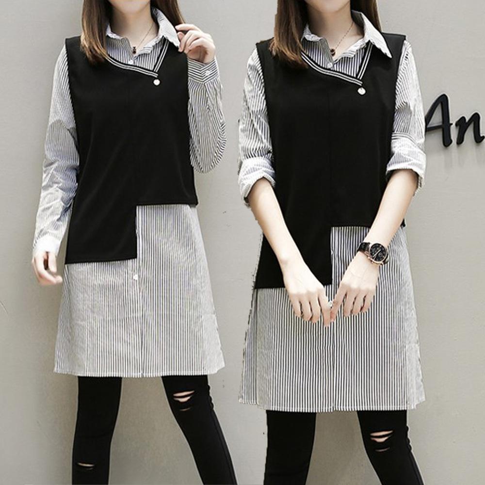 麗質達人(XL-5XL)條紋二件式上衣386
